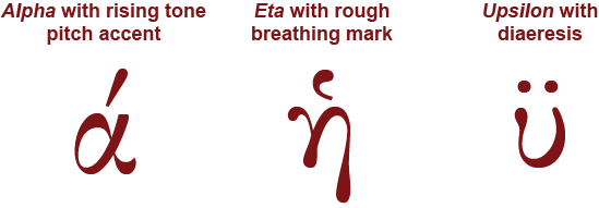 Examples of Ancient Greek letters with diacritical marks (alpha with rising tone pitch accent, eta with rough breathing mark, upsilon with diaeresis)